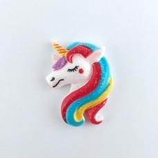 The head of a maxi Unicorn with a rainbow mane