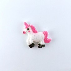 White Unicorn with a pink mane and black hooves in sparkles