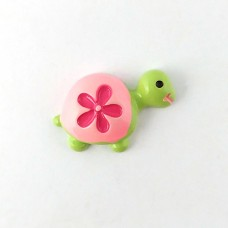 Turtle green pink shell with raspberry flower