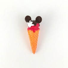 Ice cream in the horn with raspberry glaze Mickey Mouse