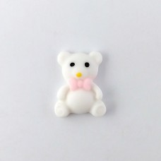 Bear white with a pink bow